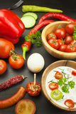 Fresh vegetables for snacks with dressing. Dip for vegetables. Healthy diet meal for dinner. Royalty Free Stock Photo
