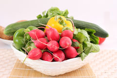 Fresh vegetables. Some fresh vegetables in a bowl stock photos