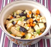 Fresh vegetables. Some fresh vegetables in a cooking pot stock photo