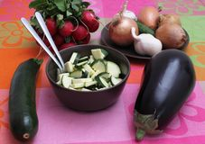Fresh vegetables. Some fresh vegetables and zucchini in a bowl royalty free stock images