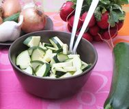 Fresh vegetables. Some fresh vegetables and zucchini in a bowl stock photography