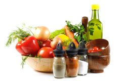Fresh vegetables, spice  and oil Stock Images