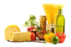 Fresh vegetables, spice  and oil Stock Image
