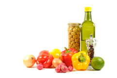Fresh vegetables, spice  and oil Stock Photo