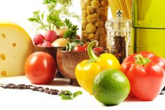 Fresh vegetables, spice  and oil Royalty Free Stock Images