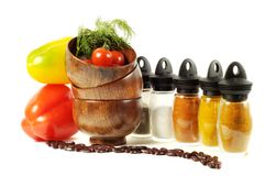 Fresh vegetables, spice  and onions Stock Images