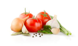 Fresh Vegetables and Spice on white background Royalty Free Stock Photo