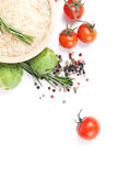 Fresh vegetables and spices. Still-life of fresh vegetables and spices over white background Royalty Free Stock Image