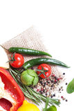 Fresh vegetables and spices. Still-life of fresh vegetables and spices over white background Stock Photo