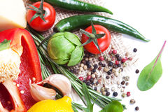 Fresh vegetables and spices Stock Photography