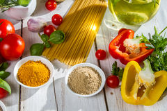 Fresh vegetables and spices Royalty Free Stock Image