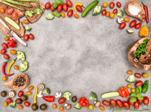 Fresh vegetables and spices. Food objects frame Stock Image