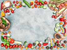 Fresh vegetables spices Food objects frame vintage Stock Photography