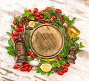 Fresh vegetables, spices and herbs. Food ingredients Royalty Free Stock Image