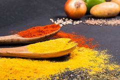 Fresh vegetables, Spices and herbs scattered on dark background. Organic products. Copy space for your text. Fresh vegetables, Spices and herbs scattered on royalty free stock photos