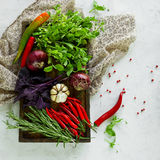 Fresh vegetables, spices and herbs in wooden box in rustic style. Stock Photo