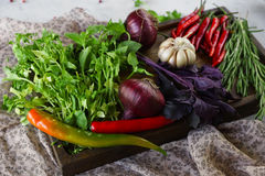Fresh vegetables, spices and herbs in wooden box in rustic style. Raw organic healthy food concept. Red pepper, onions, garlic, basil and rosemary on white Stock Images