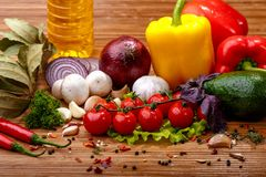 Fresh vegetables and spices Stock Photo