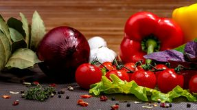 Fresh vegetables and spices Royalty Free Stock Images