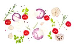 Fresh vegetables and spices on white background Royalty Free Stock Photos
