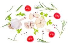 Fresh vegetables and spices on white background Royalty Free Stock Photography