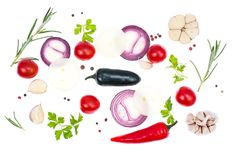 Fresh vegetables and spices on white background Royalty Free Stock Photo