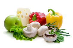 Fresh  vegetables, spicy herbs and cheese. Royalty Free Stock Photos