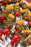 Fresh vegetables on spits ready for BBQ Royalty Free Stock Photos