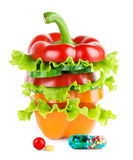 Fresh vegetables stack with vitamins Royalty Free Stock Photos