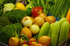 Fresh vegetables at the supermarket royalty free stock photo