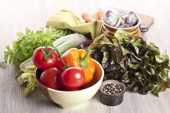 Fresh vegetables on a table. All-sorts from vegetables on a wooden table Stock Image