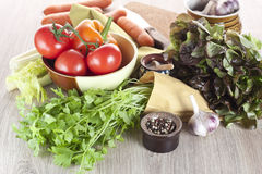 Fresh vegetables on a table. All-sorts from vegetables on a wooden table Stock Photo