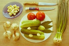 Fresh vegetables on table. Green Cucumber. Fresh, raw vegetables Royalty Free Stock Photography