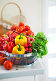 Fresh vegetables on table in kitchen Royalty Free Stock Photography