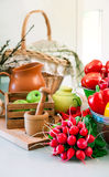 Fresh vegetables on table in kitchen Stock Photo