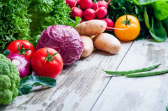 Fresh vegetables on the table wood Stock Photo