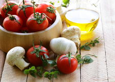 Fresh vegetables ( tomato, mushrooms, garlic) Stock Image