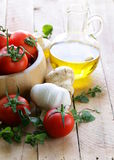 Fresh vegetables ( tomato, mushrooms, garlic) Stock Photos
