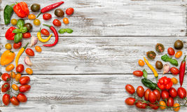 Fresh vegetables tomato and paprika. Food background Stock Photo