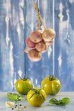 Fresh vegetables- tomato, parsley, garlic, pepper, onion, basil Stock Image