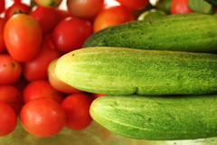 Fresh vegetables - tomatoes - cucumber. Stock Photography