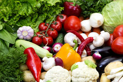 Fresh vegetables tomatoes cucumber squash. And greens background close-up Stock Photo