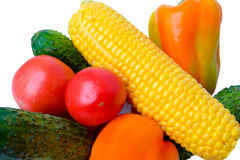 Fresh vegetables, tomatoes, cucumbers, corn and peppers Royalty Free Stock Image
