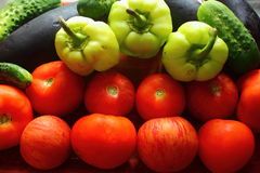 Fresh vegetables. Tomatoes, cucumbers, peppers for a healthy diet Royalty Free Stock Photography