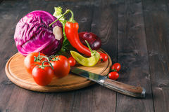 Fresh vegetables tomatoes pepper and salad leaves Stock Images