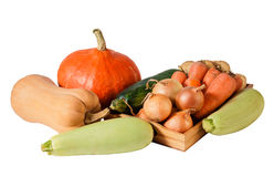 Fresh vegetables on tray isolated on white Stock Photo