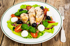 Fresh vegetables, tuna, olives and mozzarella Stock Images