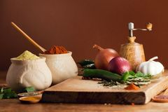 Fresh vegetables and various spices Royalty Free Stock Images