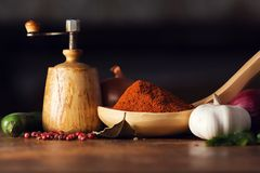 Fresh vegetables and various spices Royalty Free Stock Image