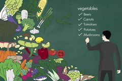 Fresh vegetables Vector hand drawn sketch on blackboard. vector illustration